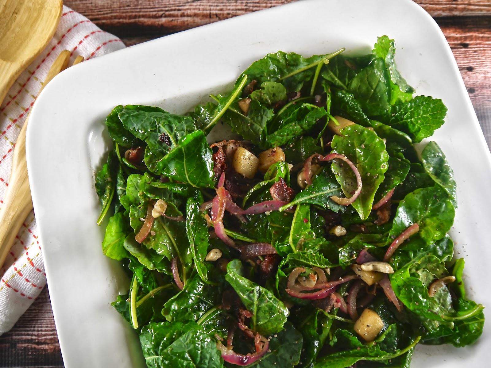 the preppy paleo: Warm Kale Salad with Bacon & Apple