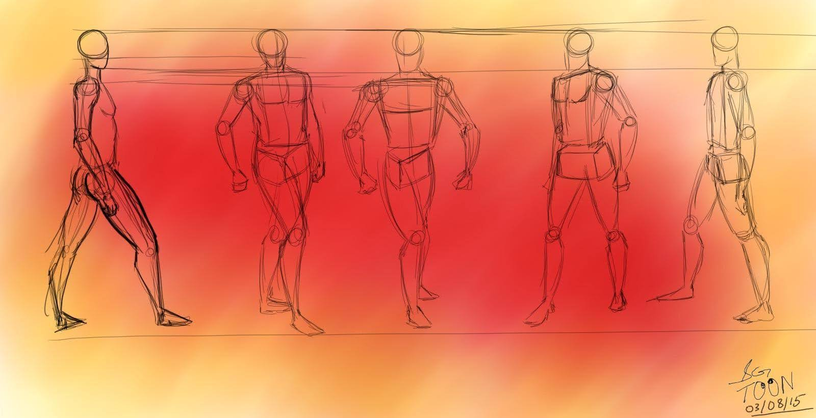 Action Anatomy Sketches With Different Background Images And Texture