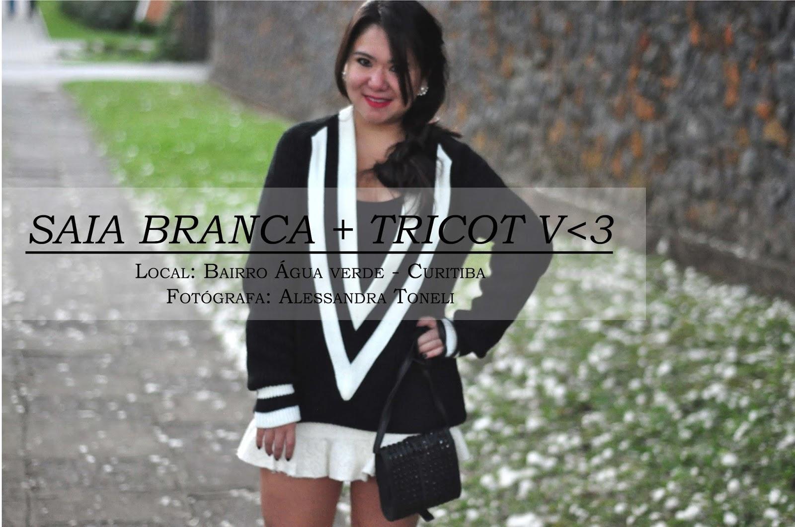 OOTD FAST FASHION - Saia Branca + Tricot V Preto e Branco :)