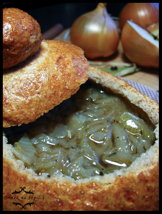 French onion soup in bread bowls