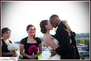 The kiss that sealed Karen & Chris's wedding - Ceremony officiated by Patricia Stimac, Seattle Wedding Officiant