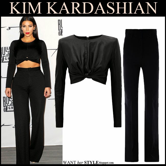 WHAT SHE WORE: Kim Kardashian in black cropped top with black ...