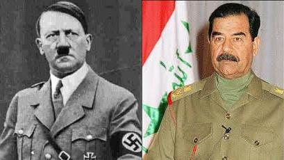 analysis of adolf hitler and saddam hussein Saddam hussein's suite was the same, with just a small section of his desk remaining in the well-carpeted room they'd even tried to take the porcelain out of the bathroom - all the taps had gone the man who designed it was the grandson of the woman who designed hitler's bunker, he added.