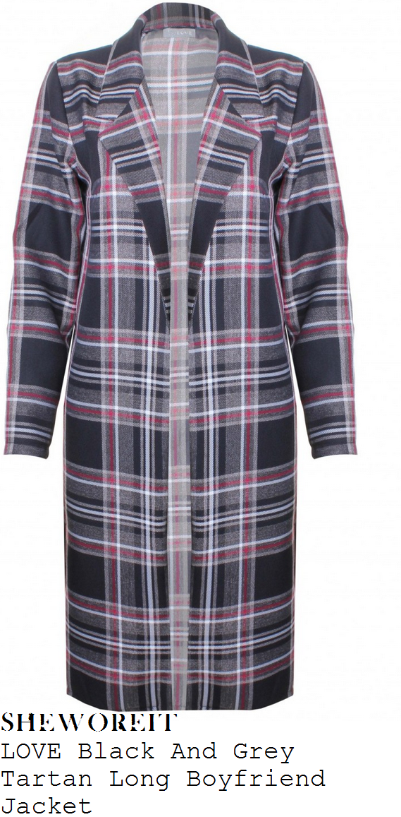 tamera-foster-black-grey-white-and-red-tartan-check-print-long-sleeve-long-jacket-coat-bluewater-christmas-lights