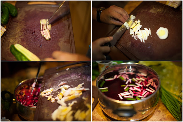 Нарезаем яйца и огурцы