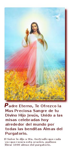 foto de la divina misericordia para orar y hacer orar por almas santas del purgatorio