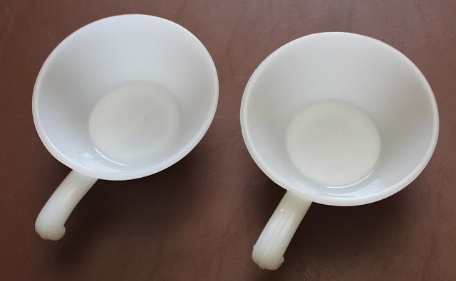 2 Vintage Fire King Anchor Hocking Milk Glass White Bowls Handles Soup Great