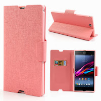 MLT Oracle Grain Leather Wallet Case with Stand for Sony Xperia Z Ultra XL39h C6806 - Baby Pink
