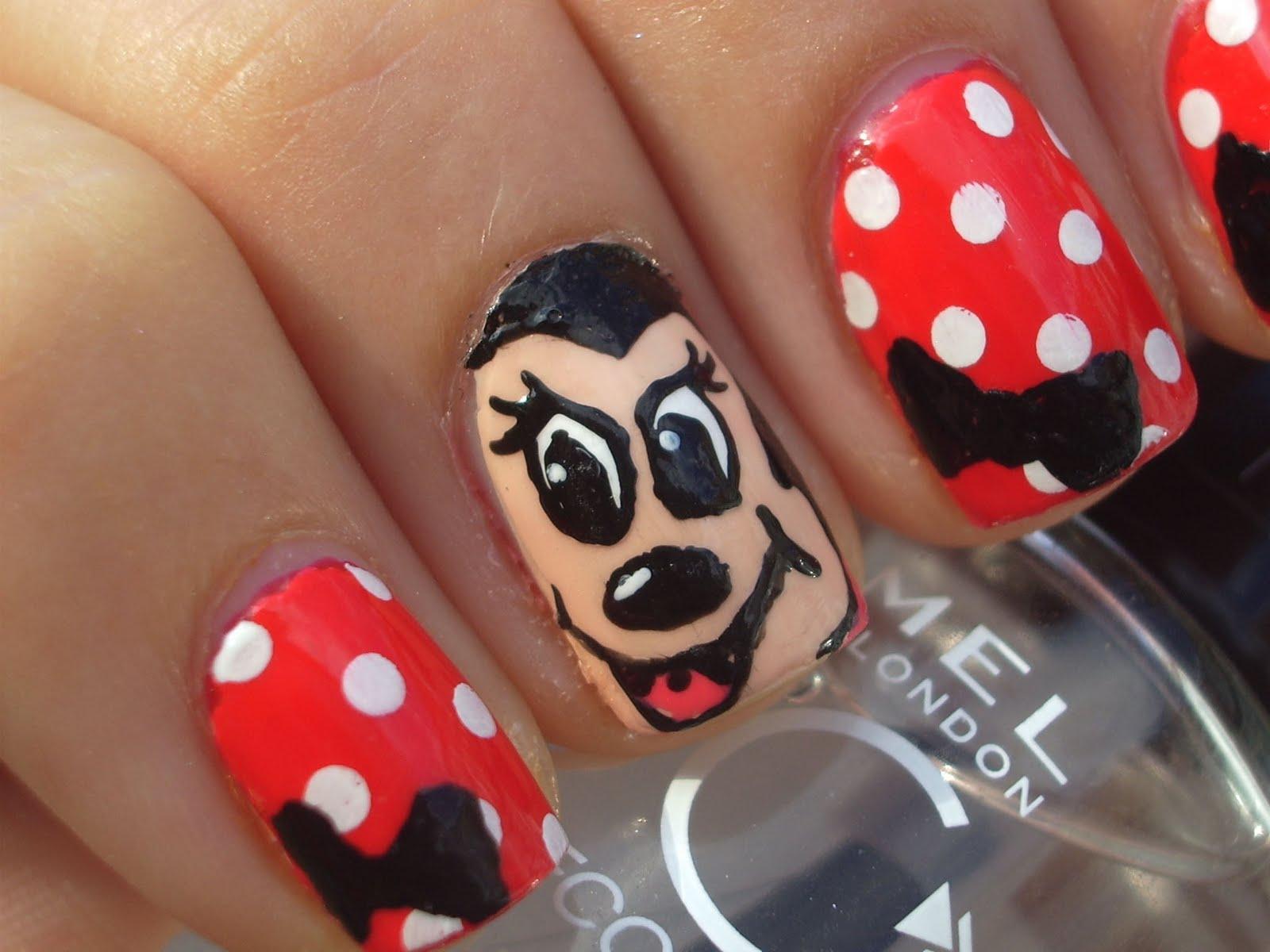 Minnie Mouse Bow Nail Art Craft Nail: Minnie Mou...