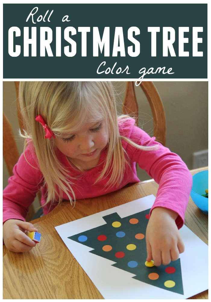 for day 7 of our a very toddler christmas series we are playing a roll a christmas tree color game - Toddler Color Games