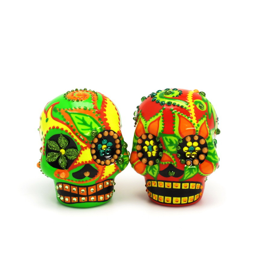 Day of the Dead Brides and Grooms Skull wedding cake topper Dia De Los