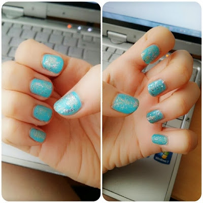 frozen disney nails, turquoise and gold stone