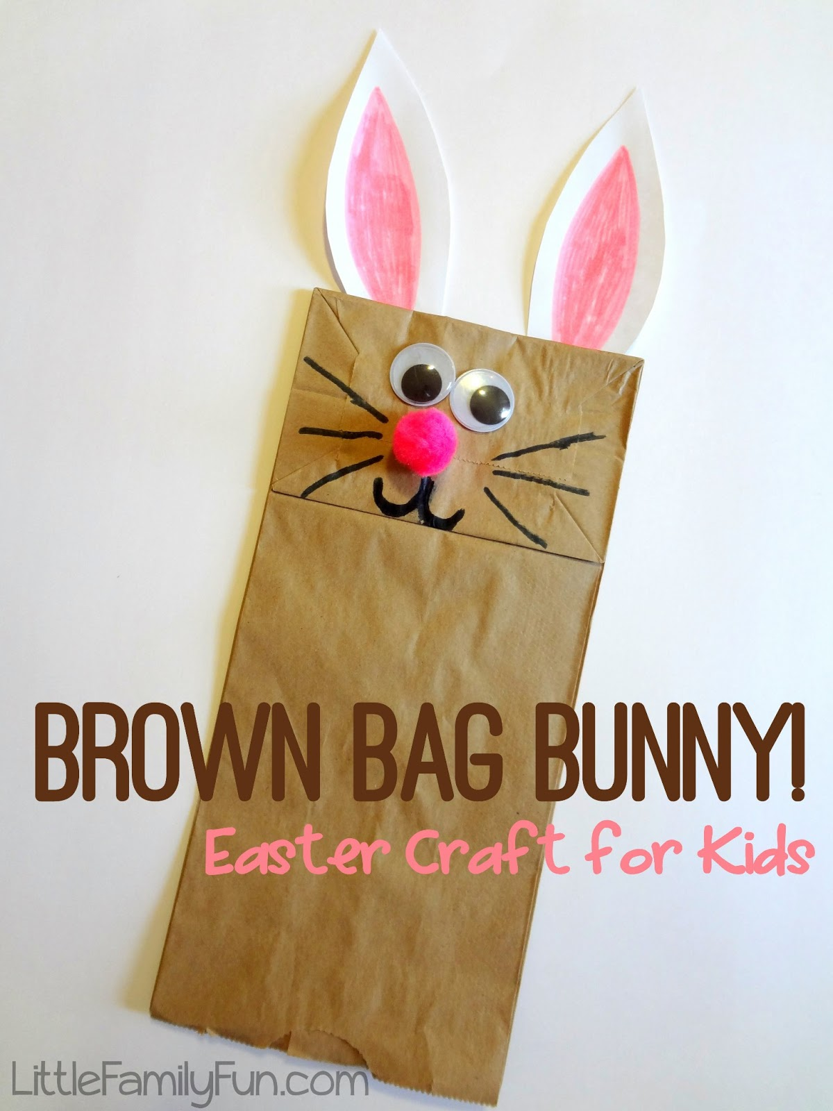 Brown bag bunny puppet for Brown paper bag craft