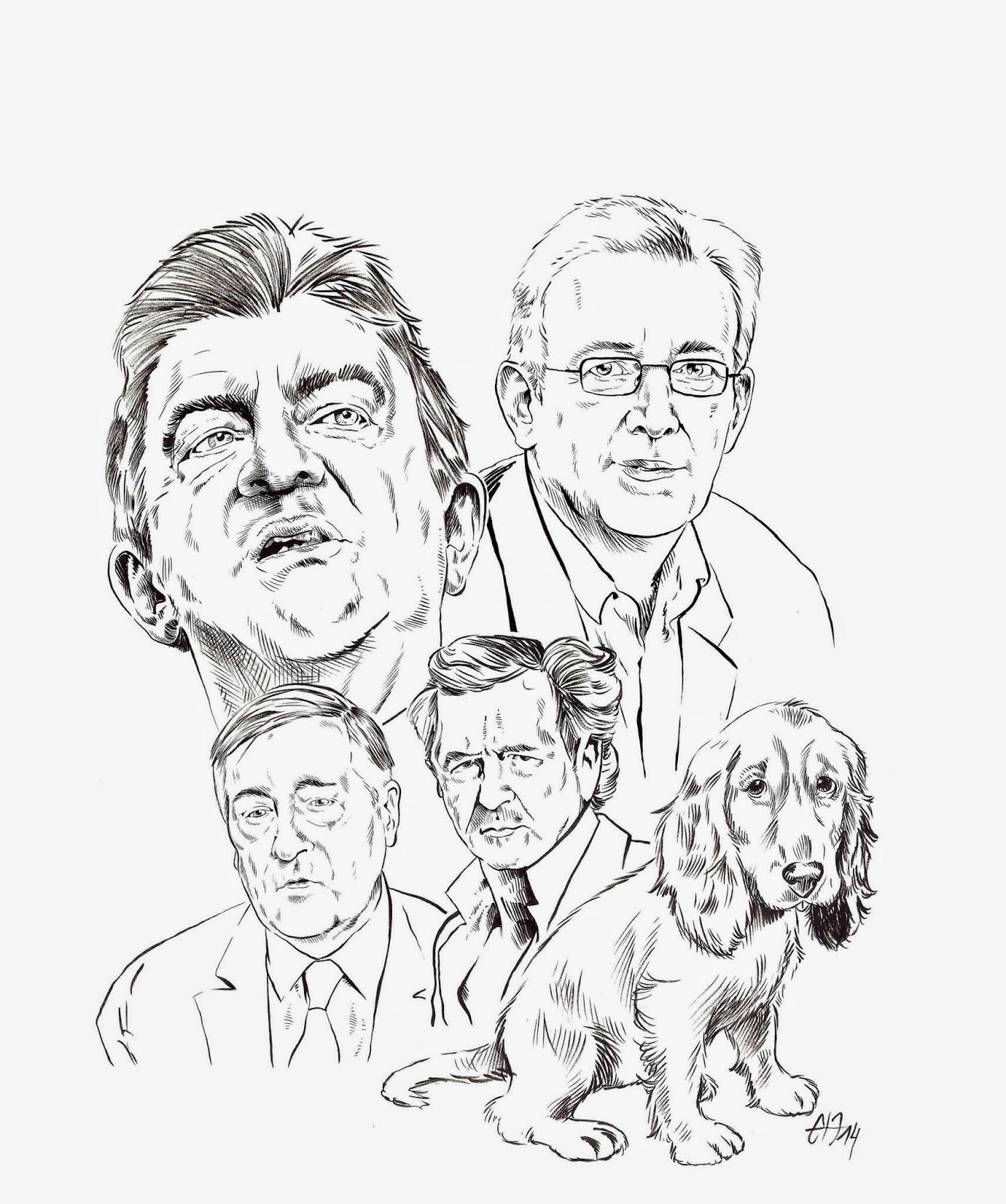 Portraits réalisés au pinceau à encre de Chine de Mélenchon, Laurent, Duhamel, BHL et d'un cocker par Guillaume Néel pour le Journal Fakir