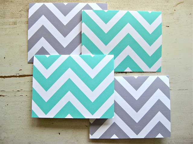 chevron notecard, chevron stationery