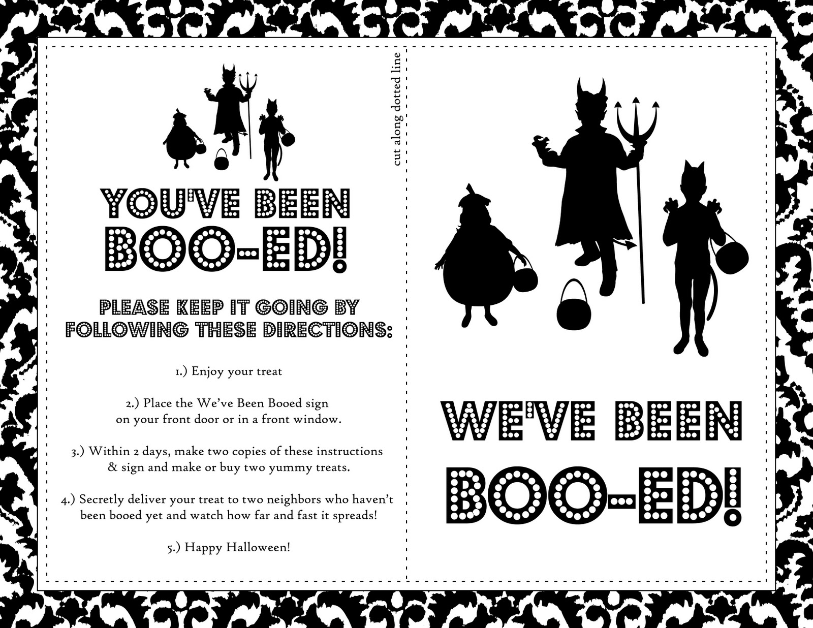 image about Booed Signs Printable titled Very easily Silhouettes: Cost-free Printable Boo Indicator for Halloween