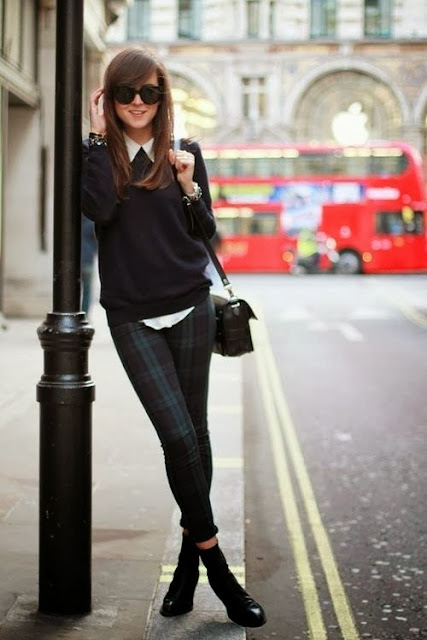 Black Long Sleeve Sweater With Tartan Trouser And BOOT