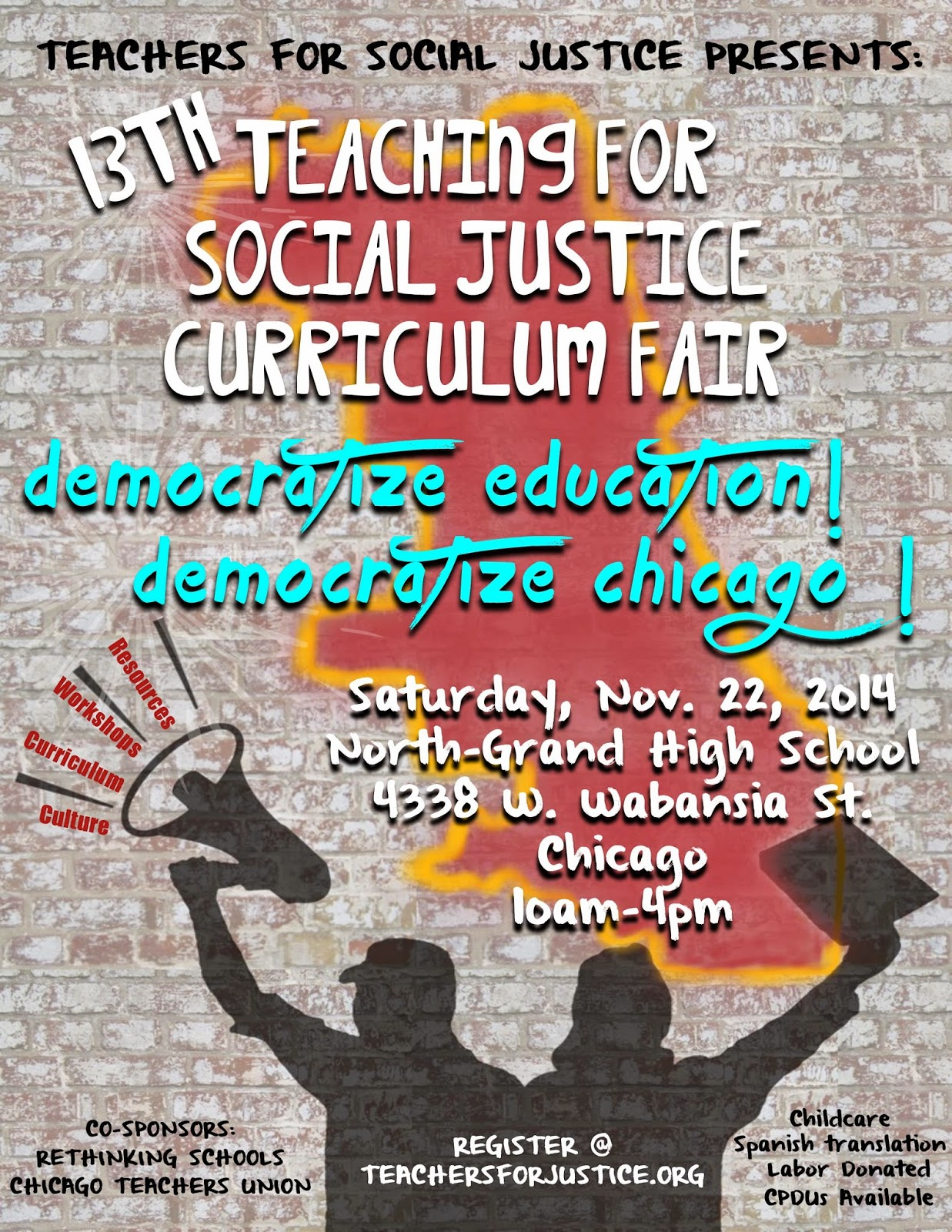 Teaching for Social Justice Curriculum Fair Poster - Design by Ellen Gradman