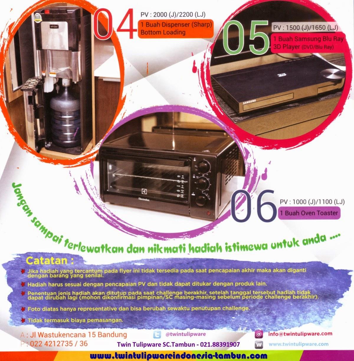 Marvelous Challenge Twin Tulipware 2015, Dispenser Sharp, Samsung Blu Ray 3D Player, Oven Toaster