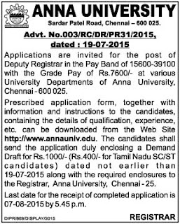 Applications are invited for Deputy Registrar Post in Anna University Chennai