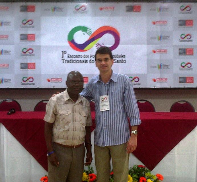 Prof. Pedro e Alcemi no I Enc de Povos e Comunid Tradicionais do ES - Aracruz, março de 2012