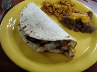 From a previous visit in 2010: Southwestern - carne asada taco, Spanish rice and refried beans.