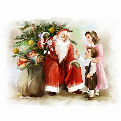 Santa Claus en escena de Navidad con niños y juguetes