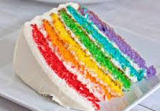 resep kue basah sederhana kue rainbow cake spesial legit, lezat, enak