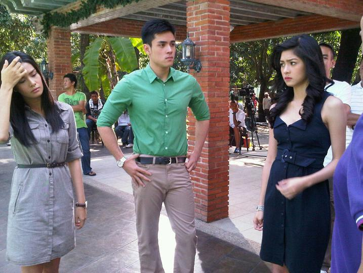 ERICH GONZALES, XIAN LIM AND KIM CHIU IN THE SET OF MINSAN LANG KITA
