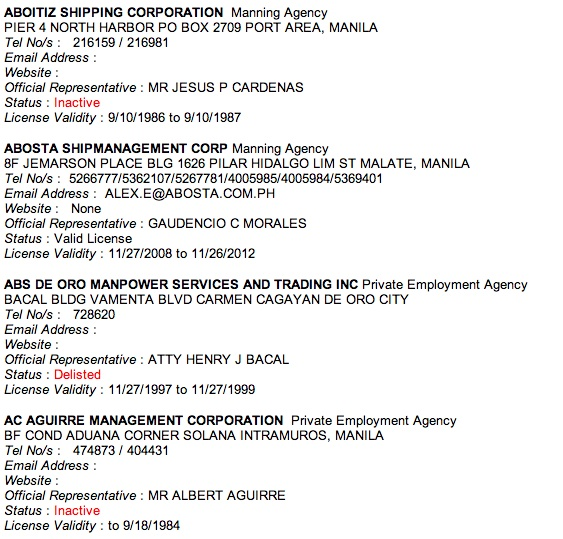 List Agency Poea http://www.ahabreviewsandtips.com/2012/11/list-of-poea-accredited-agencies.html