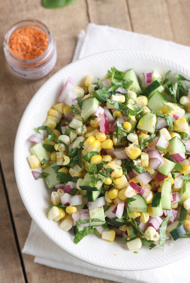 Thai Corn Salad with Sriracha Sea Salt by SeasonWithSpice.com
