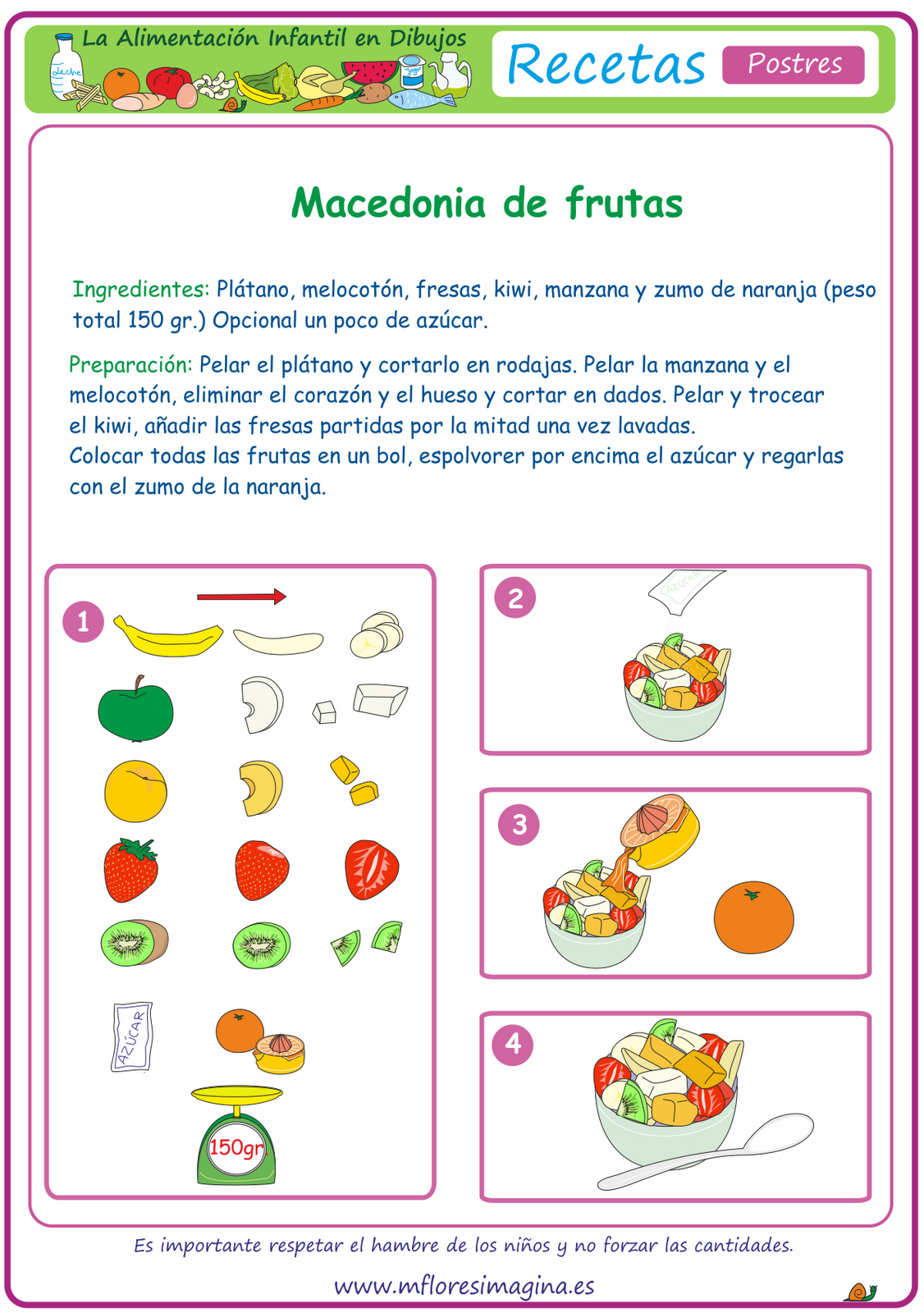 La alimentaci n infantil en dibujos postres for La cocina de los alimentos pdf
