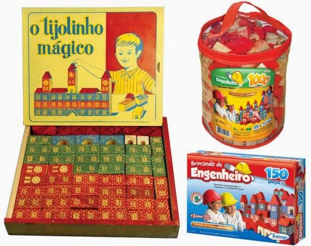 Brinquedo de Tijolinhos de Madeira dos anos 60.