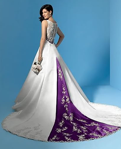 i heart wedding dress pastel purple sash
