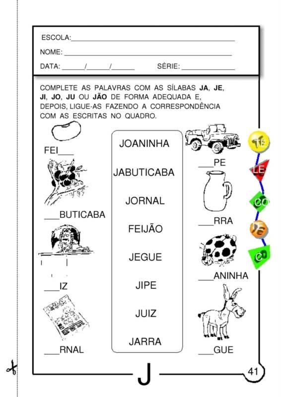 Muito ALFABETIZAÇÃO CEFAPRO - PONTES E LACERDA/MT : ATIVIDADES COM A LETRA J XX68