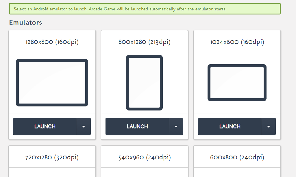 how to test apps in android emulator with different sizes