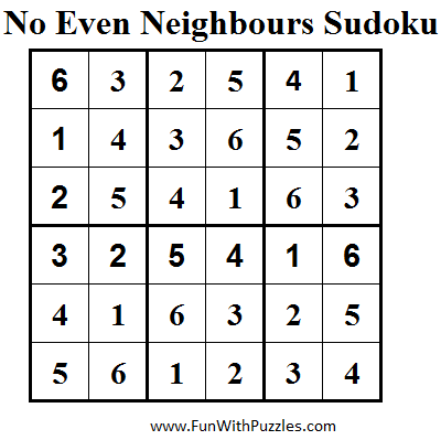No Even Neighbours Sudoku (Mini Sudoku Series #39) Solution