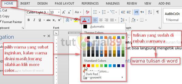 Cara mengatur jenis, ukuran dan warna tulisan di ms Word