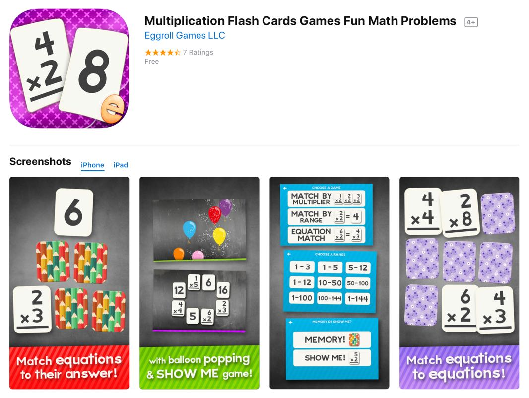UCET Free iOS App Today: Multiplication Flash Card Games Fun Math ...