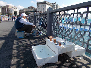 """You are never too old or young to go fishing on """"GALATA BRIDGE""""."""