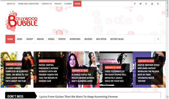 Bollywood Bubble, website yang sedang naik daun