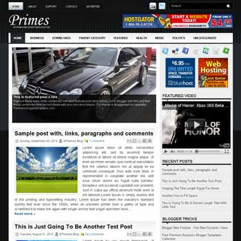 Primes blog template. template image slider blog. magazine blogger template style. wordpress theme to blogger