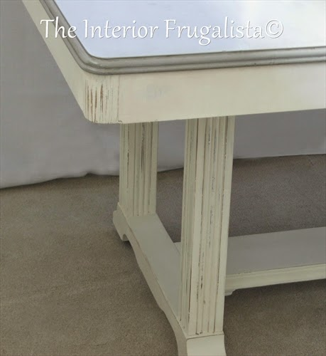 Vintage Dining Table Makeover painted with Old White chalkpaint and distressed