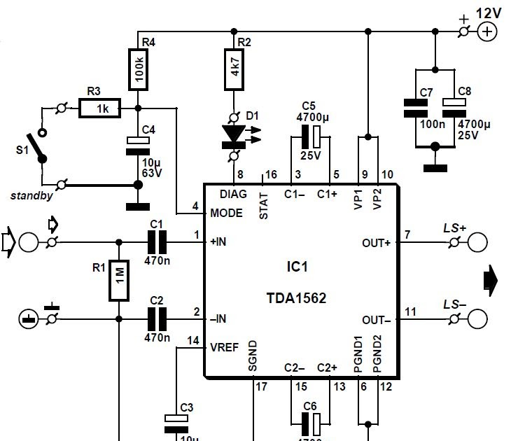 world technical  circuit amplifier 54 w using tda1562q