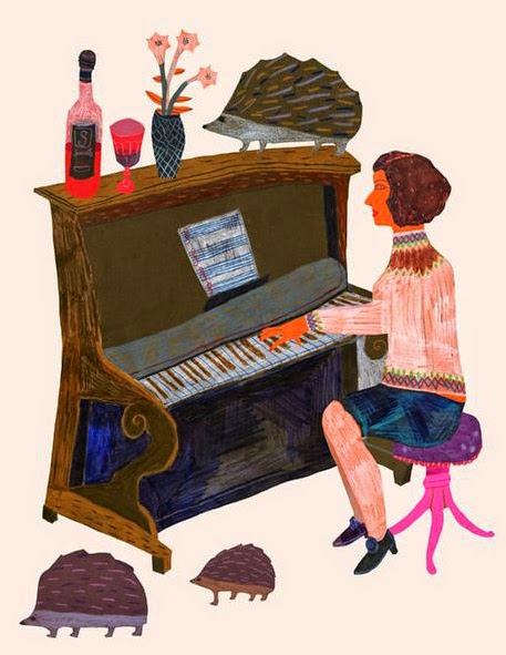 a lady pianist and hedgehogs in this illustration by Monika Forsberg