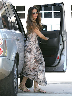 Kate Beckinsale getting out of her car
