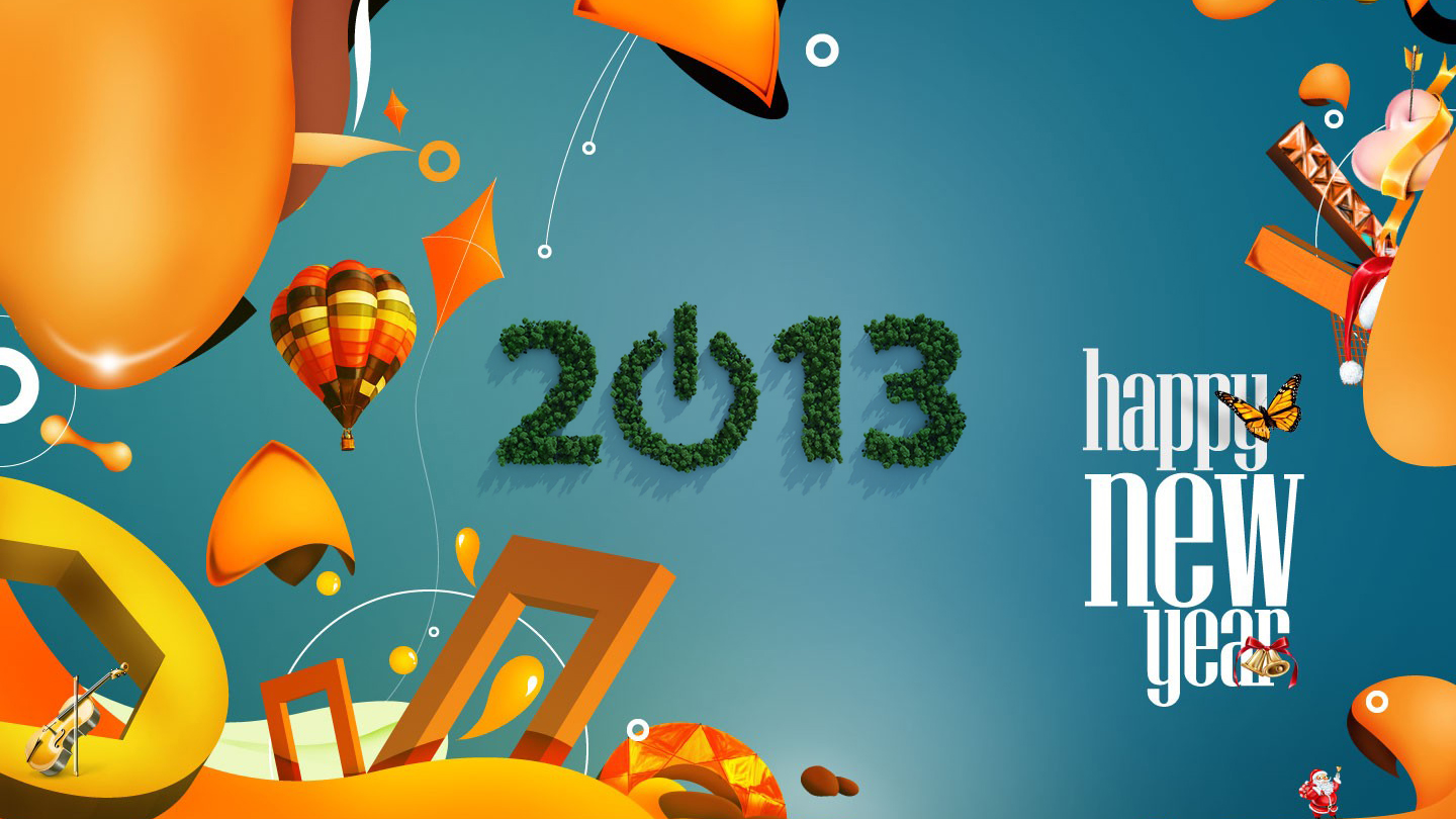 New Year 2013 3d Colorful Vector Wallpaper