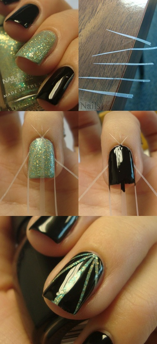 a Simple Scotch Tape Rays manicure with step-by-step tutorial
