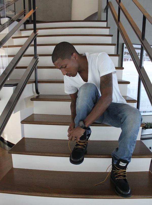 Pharrell Williams wearing Timberland Newmarket Trans BootsWearing Timberland Boots In The Summer