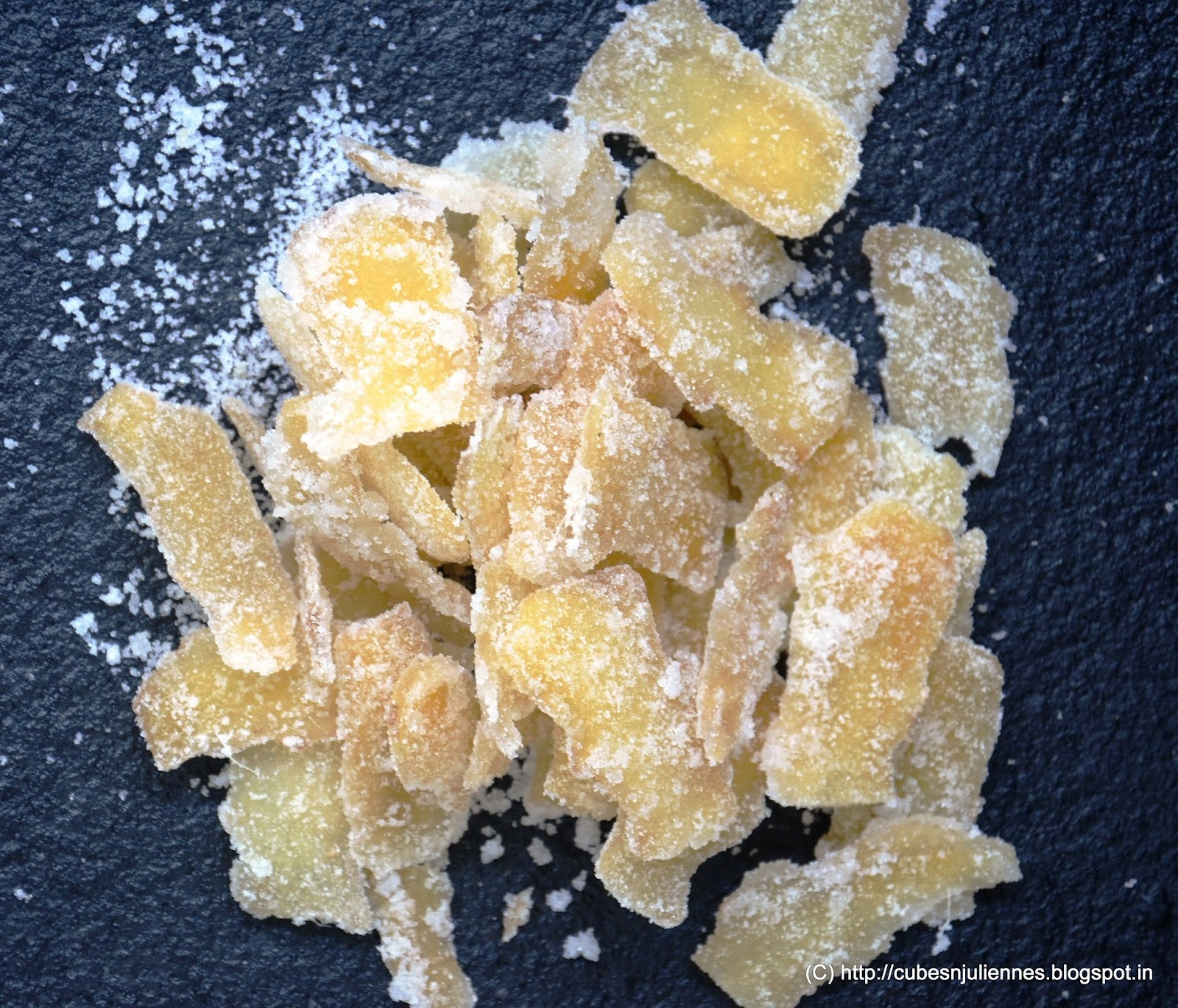 Candied ginger or Crystallized Ginger is made from ginger slices ...